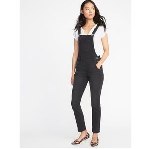 Old Navy Black Overalls Bibs Jeans Skinny Vtg 90s